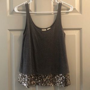 Heather grey tank with gold sequins